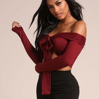 Burgundy Off Shoulder Front Tie Crop Top