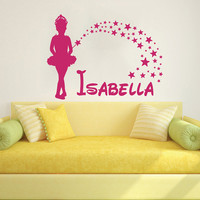 Wall Decal Name Girls Vinyl Sticker Personalized Custom Decals Art Home Decor Mural Magical Fairy Stars Princess Wall Decals Nursery AN676