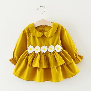 Colorful Spring Autumn Baby Girls Dress Infant Party Dress For Toddler Girl 3-36M Brithday Cotton Clothes Five Formal Dresses