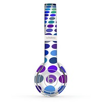 The Blue and Purple Strayed Polkadots Skin Set for the Beats by Dre Solo 2 Wireless Headphones