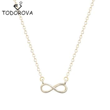 Todorova Simple Silver Gold Women Girl Gift Fashion Jewelry 8 Infinity Friendship Pendant Necklace Best Friends Forever Love