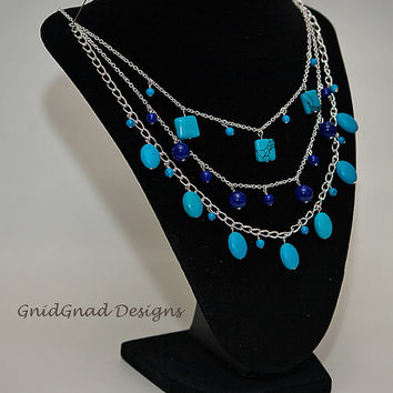 Handmade Multi Strand Bib Statement Necklace in turquoise, cobalt blue, silver