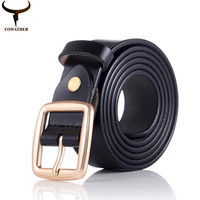 COWATHER 2016 women belts cow genuine leather pin buckle for women newest design vintage style belt high quality free shipping