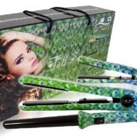 "ISO Professional Hair Tools: Full Styling Set ""Peacock"" + ITAY Natural 8-Stack Eye Shimmer ""Terra Linda"""