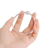 CZ Crystal Heart Clasp Bangle Basic Bracelet Compatible with Pandora Style Beads Original Silver Plated Bracelet For Women