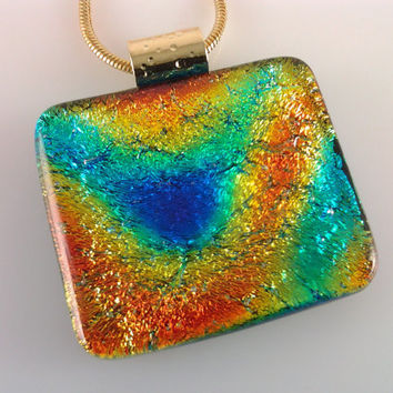 Dichroic Glass Pendant, Fused Glass Jewelry, Orange Blue Aqua Dichroic Necklace