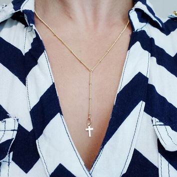 Cross Lariat Necklace / Tiny Cross Rosary Necklace / Cross Y Necklace with Gold Satellite Chain / Delicate Lariat Necklace