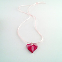 Valentine's Day Heart Necklace, Red and Pink Polymer Clay