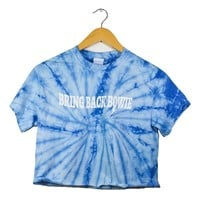 Bring Back Bowie Sky Blue Tie-Dye Graphic Unisex Crop Top