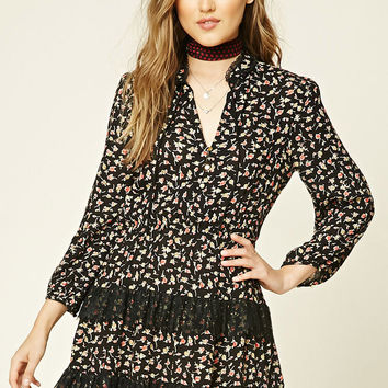 Tiered Floral Peasant Dress