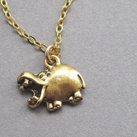 Hippo necklace, gold, small cute hippopotamus charm pendant