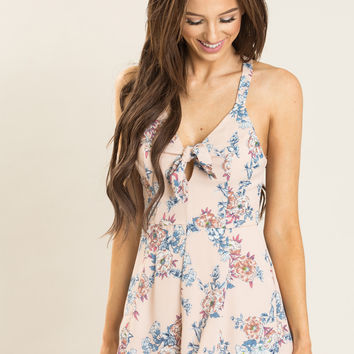 Rory Blush Floral Romper by LUSH