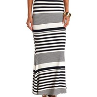 Back Slit Striped Maxi Skirt by Charlotte Russe - Navy Combo