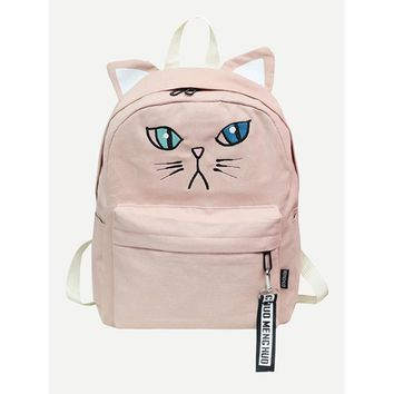 Cat Embroidery Detail Backpack