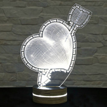 Heart Shape, Home Decor, Office Decor, 3D LED Lamp, Acrylic Lamp, Amazing Effect, Art of Light, Nursery Light, Artistic Lamp, Table Light