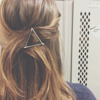 Women Triangle Geometry Hair Clip Hairpin Folder Clip Accessories Silver Gold