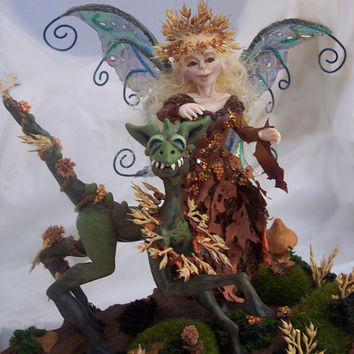 Autumn Fairy and Her Dragon, OOAK Art Doll, OOAK Sculpture, Polymer Clay Fairy and Dragon