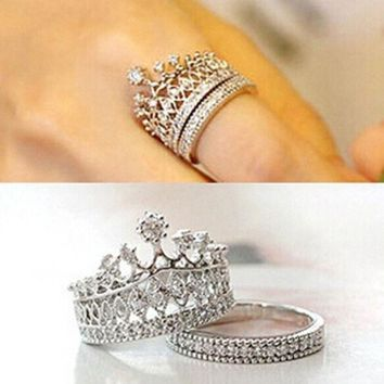 Cute Girls Stylish Accessories Party Jewelry Crown Rings Crystal Silver Gold Luxury Ring Set