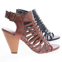 Russell By Classified, Gladiator Strappy Open Toe Sling Back Stacked Heel Sandals
