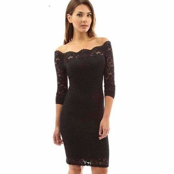 Full Lace Overlay Boat Shoulder Dress
