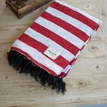 Cotton Throw - Red And White