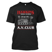 Stranger Things- HAWKINS MIDDLE SCHOOL A.V CLUB - Men Short Sleeve T Shirt - SSID2016