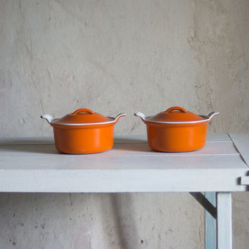 Vintage Le Creuset  Pot // Cast Iron Casserole Dish // Orange Enameled  Cookware // French Retro