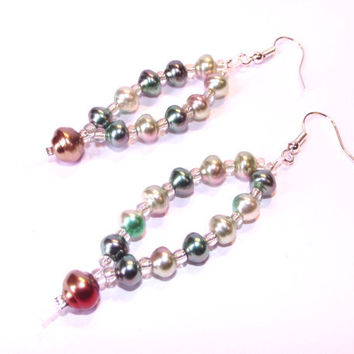 Fall earrings leaf autumn beaded dangle green and copper colours