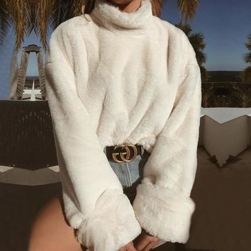 Women Faux Fur Warm Sweater Turtleneck High Neck Sweater Long Sleeve Winter Warm Pullovers Long Loose White Tops