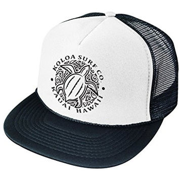 Koloa Surf Co(tm) Hawaiian Turtle Honu Mesh Back Trucker Hat White -Black Logo