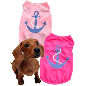 Pink Anchor Spring Dog Top