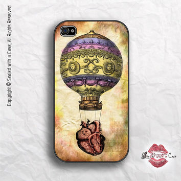 Hot Air Balloon and Vintage Heart - iPhone 4 Case, iPhone 4s Case and iPhone 5 case