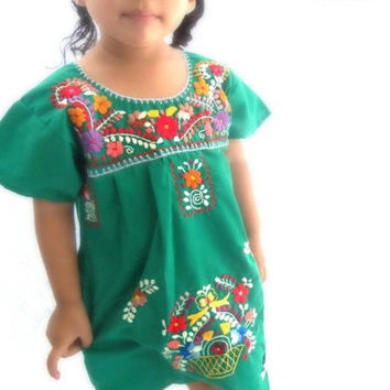 Mexican Embroidered Traditional Dress for Girls Size 3T