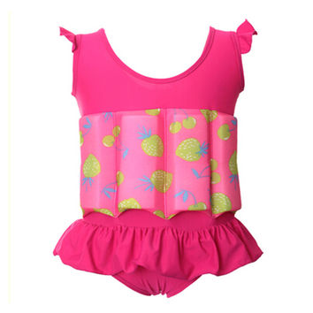 Kids swimwear 2017 professional buoyant swimming suits for boy and girls quick-drying one piece buoyancy swimwear swimsuit TR008