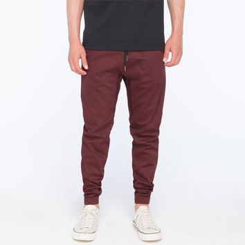 Charles And A Half Mens Twill Jogger Pants Burgundy  In Sizes