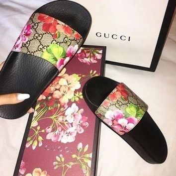 Gucci Women's Casual Tide Brand Trendy Sports Printed Sandals Slippers F