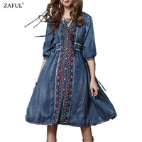 Bohemian Design Long Sleeve V-Neck Embroidery Patchwork Denim Dress Spring Autumn Vintage Ethnic Cardigan Women's Clothes