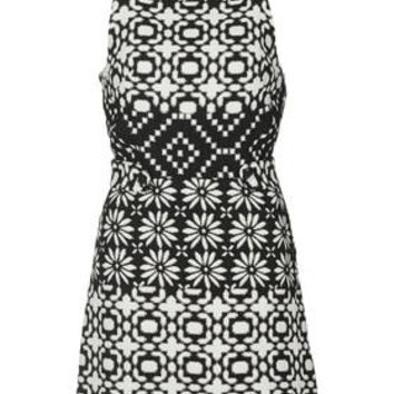 TALL Daisy Jacquard Pinafore Dress - Monochrome
