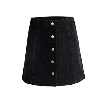 Women Vintage Bottoms Skirts Skater Saia Etek Faldas Jupe Gonna Petite Corduroy Button Front A-Line Skirt