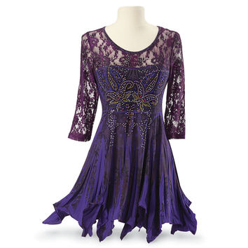 The Violetta Purple Lace Rhinestone Embellished Tunic Top