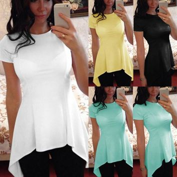 SHIRT Sexy Peplum Tops Women Blouse O Neck Short Sleeve Slim Fitness Casual Tunic