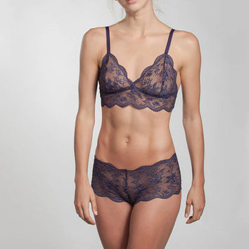 Purple lingerie set - Longline Bralette-French Knickers - French Lace - leaver lace - see through lingerie - bra and panty set-sexy lingerie
