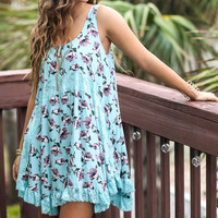 Blossoms Bloom Aqua Floral Dress