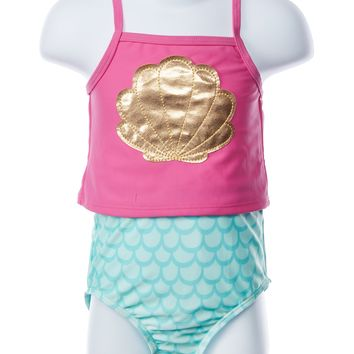 Flap Happy Mermaid Three Piece Swimsuit