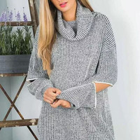Gray Cutout-Sleeve Turtle Neck Knitted Sweater