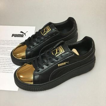 DCCKIJ2 Puma Rihanna 2 Casual Flatform Shoes Black Golden