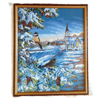 Paint by Number, Vintage Wall Art, Winter Scene with Chickadees, Blues, White and Yellow, Snowy Scene, Church, Framed with Glass, Home Decor