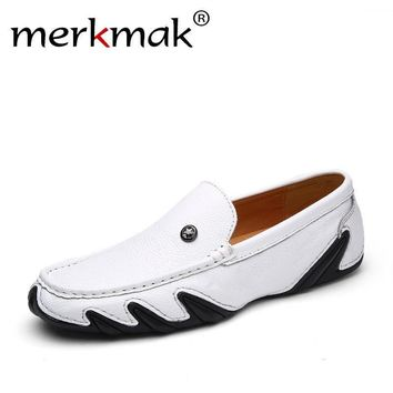 Merkmak High Quality Genuine Leather Men Shoes Soft Moccasins Loafers Fashion