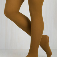 Did You See My Texture? Tights in Mustard Size OS by ModCloth
