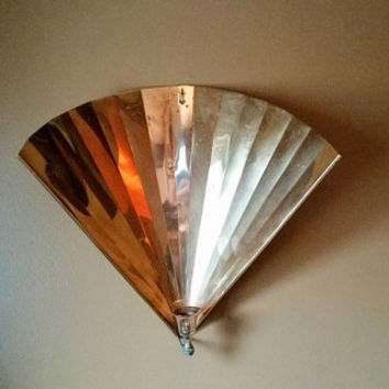 Mid Century Art Deco Brass Fan Candle Holder Wall Sconce